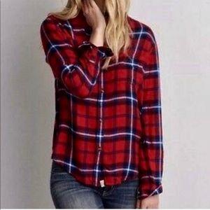 • American Eagle • Red Boyfriend Fit Plaid Shirt